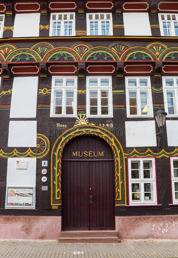 对地方博物馆的入口在Einbeck 免版税图库摄影
