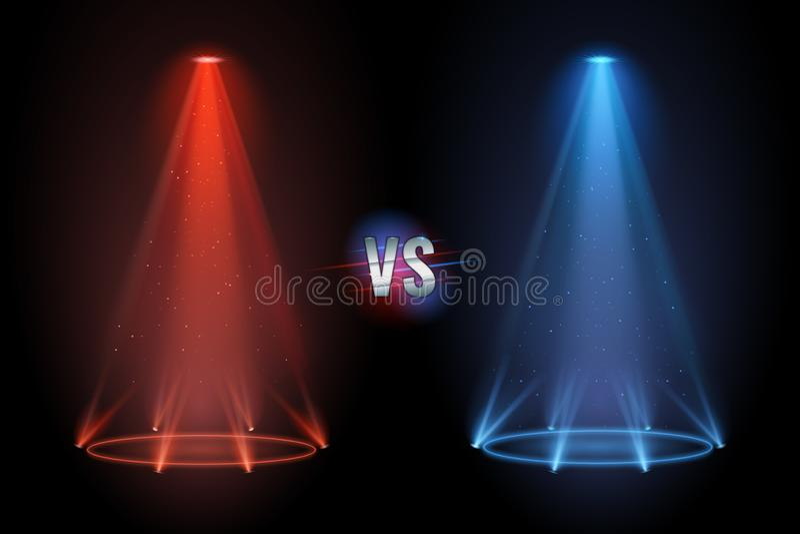 对地板 对拳击交锋比赛的争斗放映机发光的垫座地板 也corel凹道例证向量 库存例证