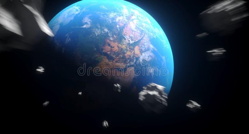 对地球的现实落的小行星 皇族释放例证