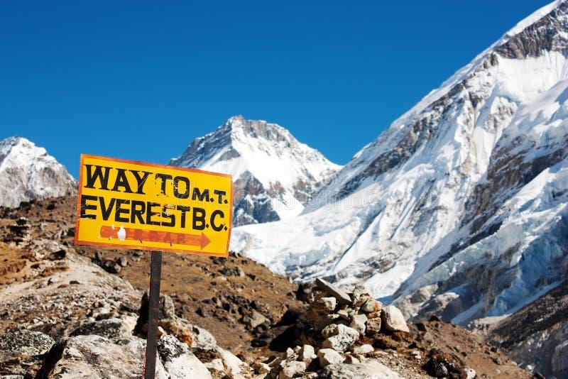 对埃佛勒斯峰BC和喜马拉雅p的路标方式 免版税库存照片