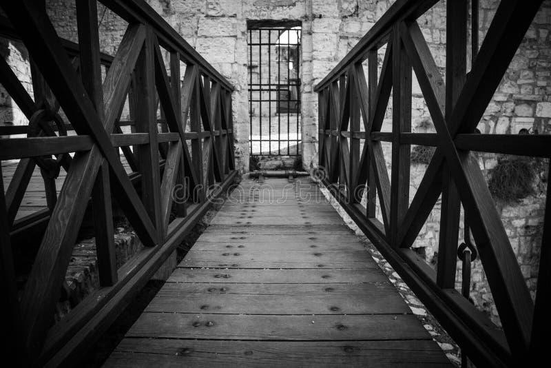 对城堡的木桥 库存照片