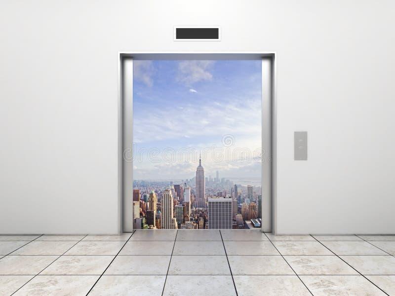 对城市的电梯 向量例证