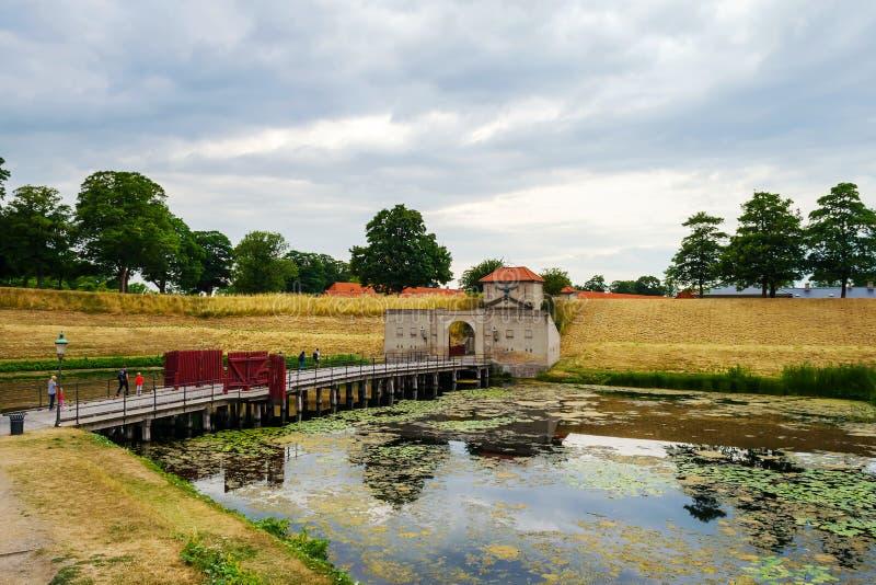 对堡垒Kastellet,哥本哈根,丹麦,其中一个的入口最保存良好的星堡垒在北欧 它被修造 库存照片