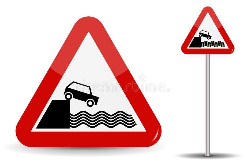 对堤防的路标警告离开 在红色三角,海岸、水和汽车概要地被描述 向量 库存例证