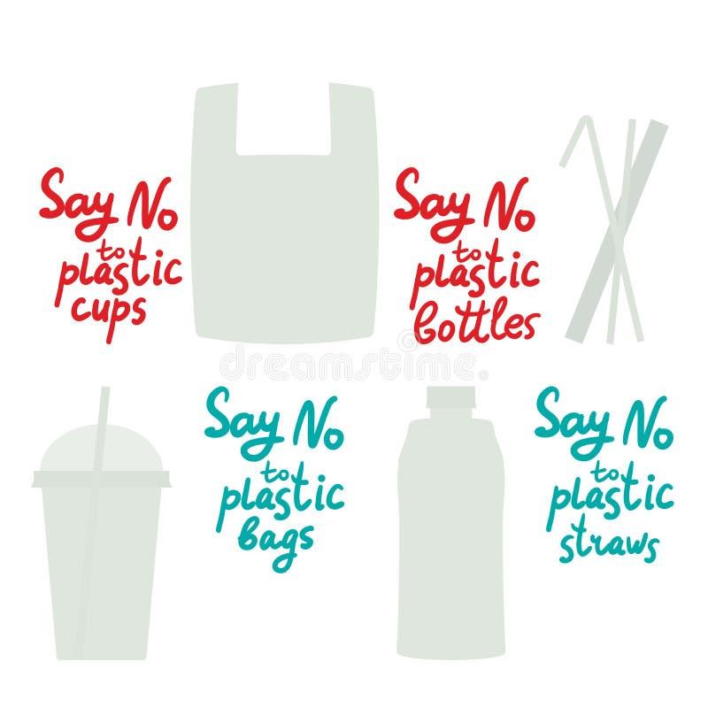 对塑料杯子袋子瓶秸杆说不 红色蓝色文本,书法,字法,乱画用手隔绝在白色 Eco,生态 皇族释放例证