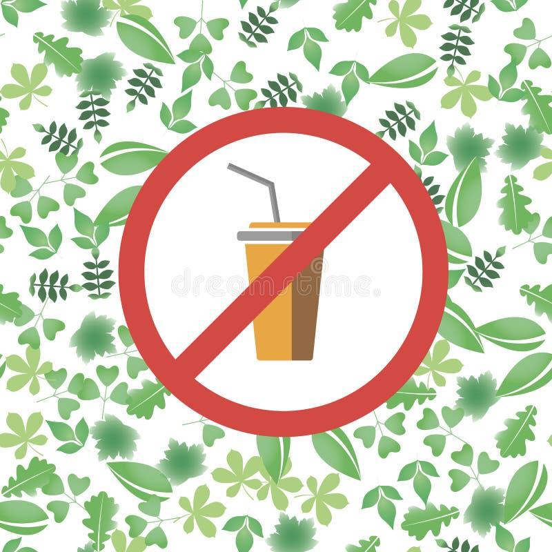 对塑料玻璃红色禁止标志说不 对塑料杯子污染说不 保存地球环境和生态  ? 向量例证