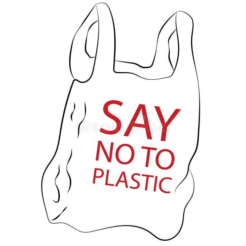 对塑料袋说不 向量例证