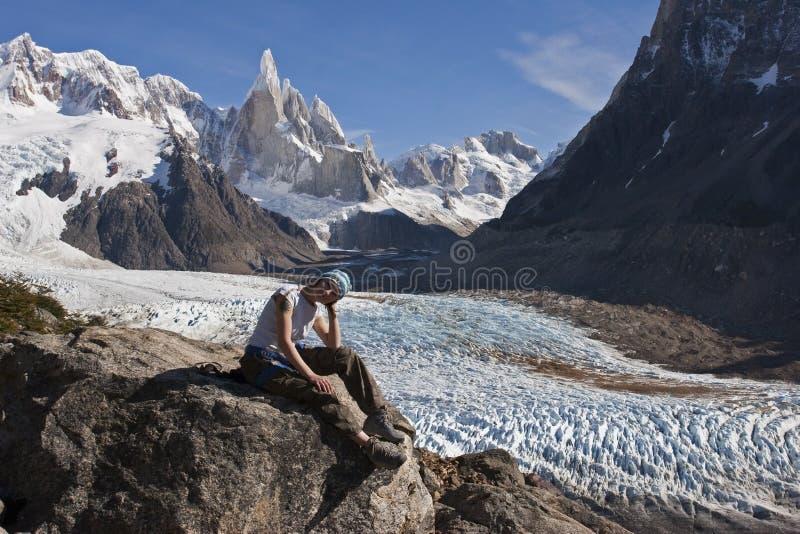 对塞罗Torre冰川,巴塔哥尼亚,阿根廷 免版税库存照片
