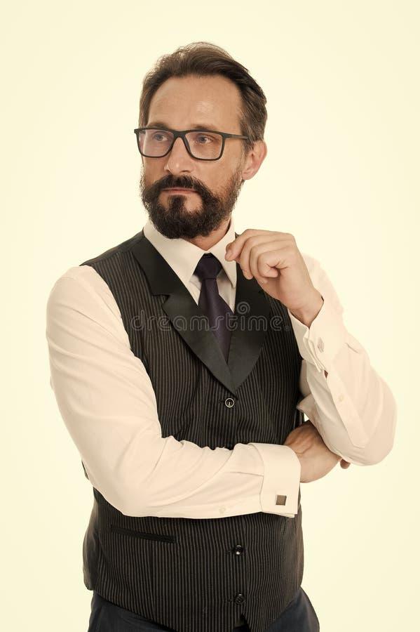 对处方镜片透镜和框架的指南 商人经典正式衣物和适当的eyewear白色 免版税图库摄影
