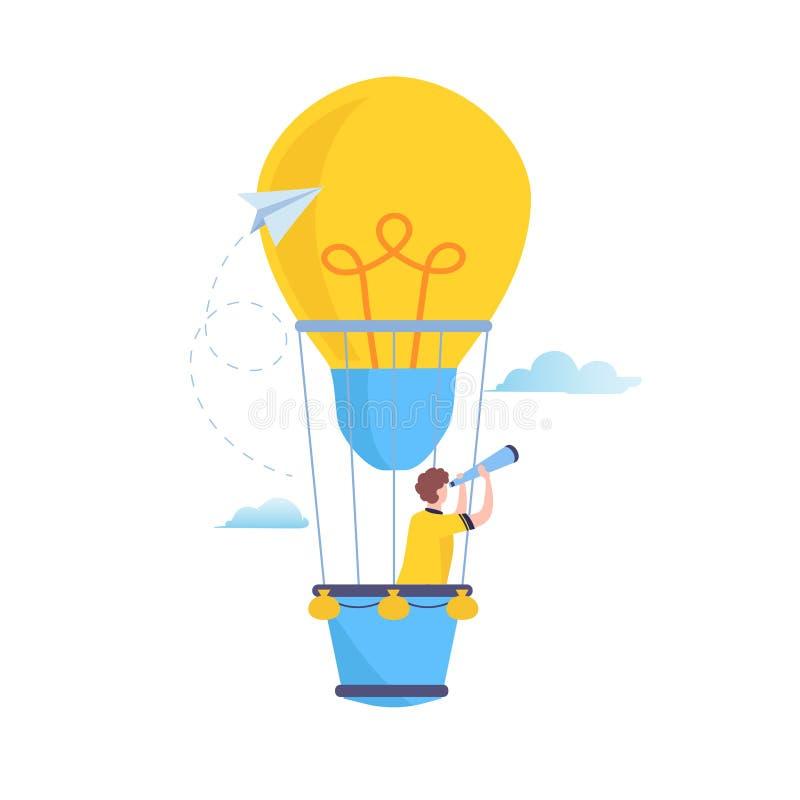 对大想法的查寻 视觉,寻找未来,在一个热空气气球的商人飞行 平的动画片例证传染媒介 向量例证