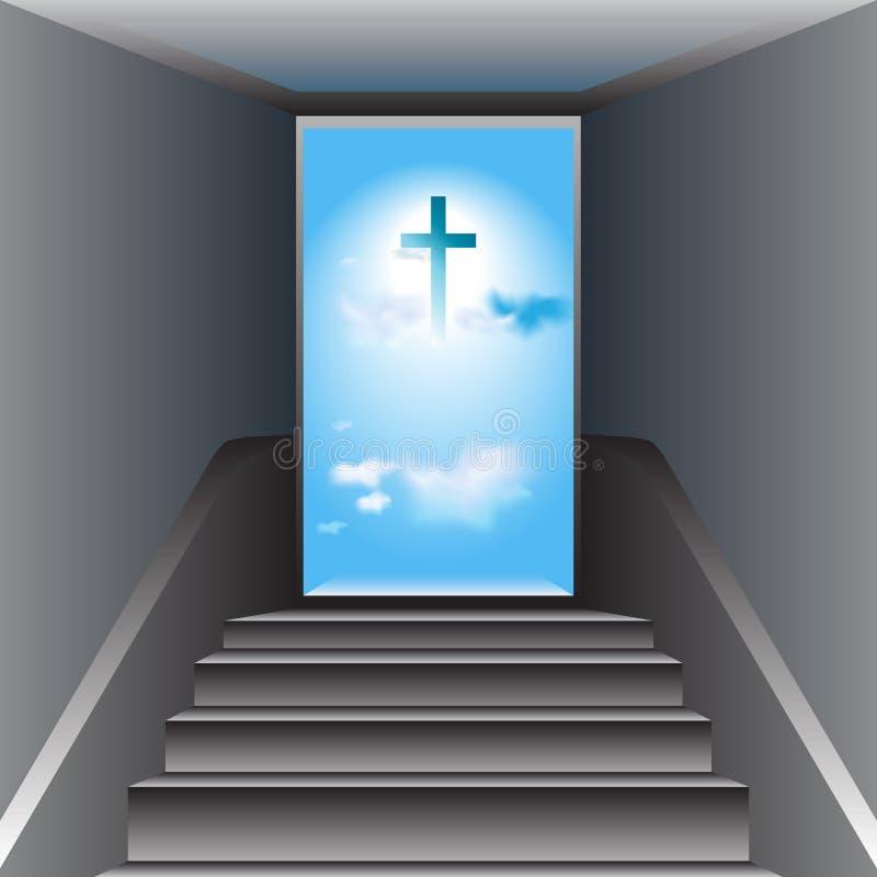 对天堂的楼梯。对上帝的方式。耶稣基督十字架  向量例证