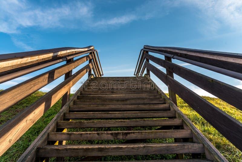 对天堂的楼梯埃托瓦印度土墩古迹的在Cartersville乔治亚 库存图片