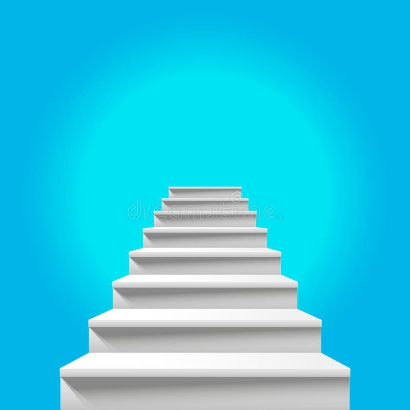 对天堂的楼梯 导致对天堂般的天空蔚蓝的白色楼梯 向量例证