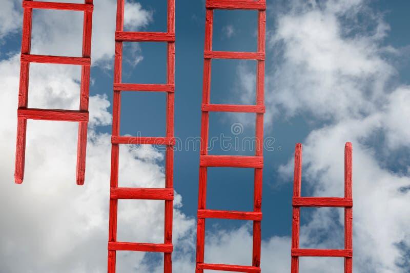 对天堂的红色楼梯 路成功 目标事业隐喻的成就 免版税库存照片