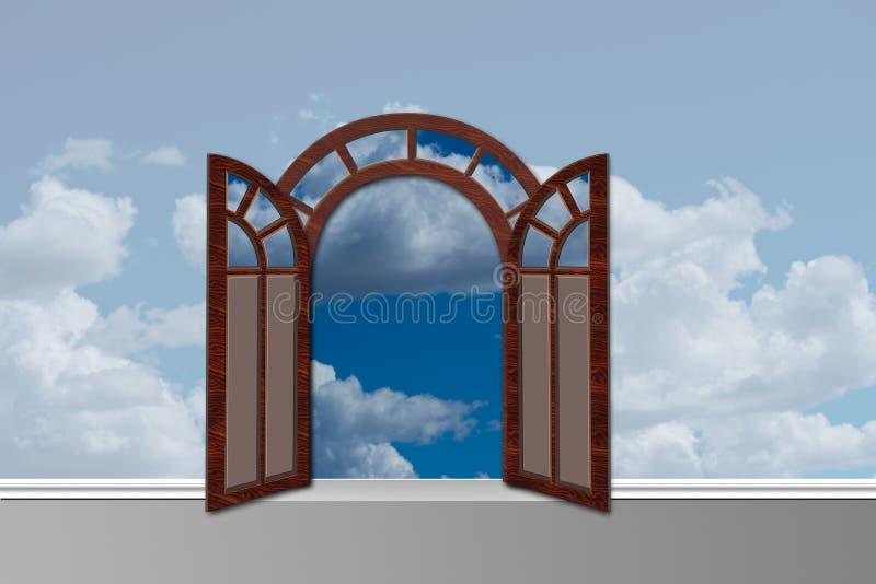 对天堂的门道入口有门的打开 库存例证
