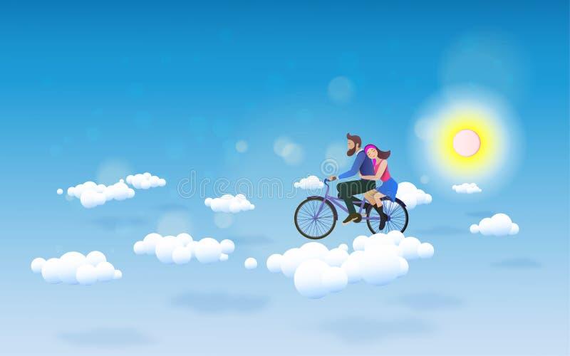 对天空的一辆夫妇骑马自行车 概念亲吻妇女的爱人 愉快的Valentin 向量例证