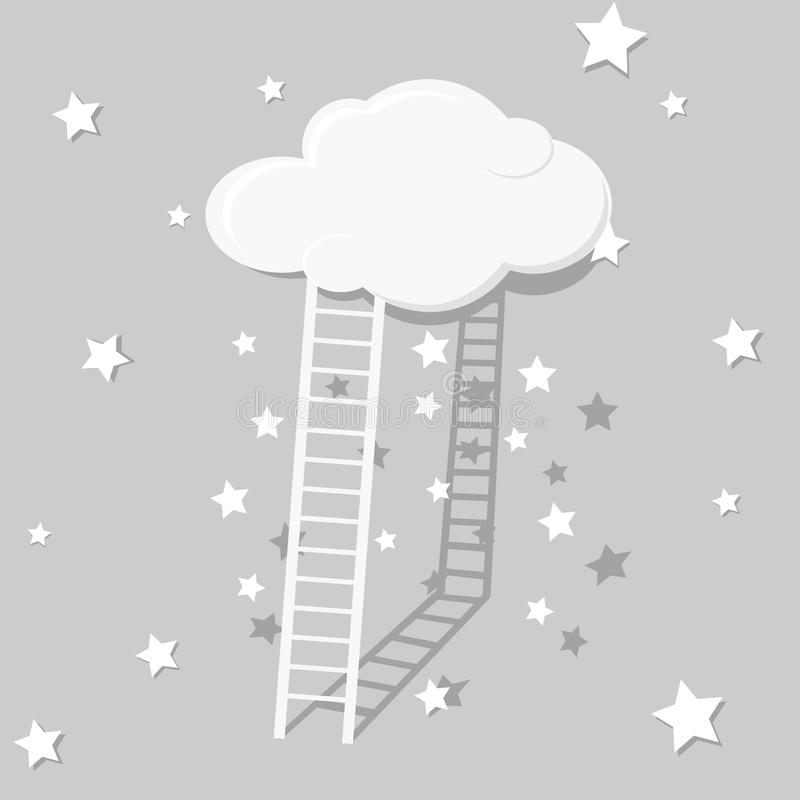 对天空的异常的抽象楼梯,灰色在星 免版税图库摄影