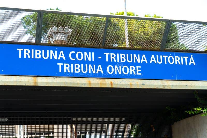 对奥林匹克体育场的论坛入口在罗马,意大利 库存照片