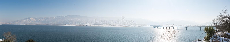 对奥林匹斯山Servia山和桥梁的全景  免版税库存图片