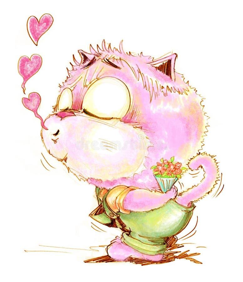 对女孩铅笔颜色图画的猫逗人喜爱的亲吻 向量例证