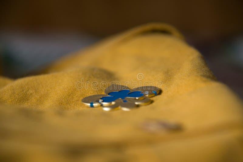 对女童子军诺言别针的仔细的审视在侦察员衬衣 库存照片