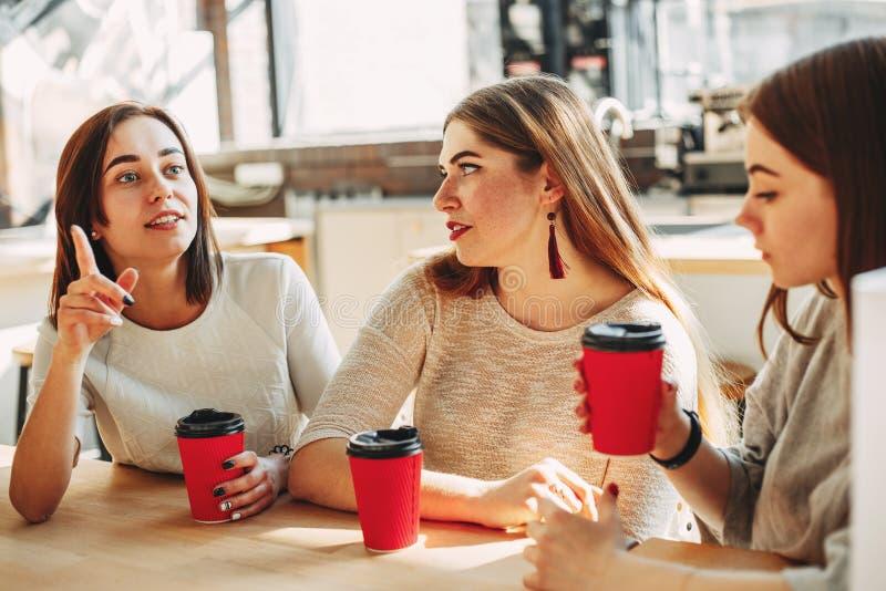 对她的朋友的情感妇女谈话 享用co的人 免版税库存图片
