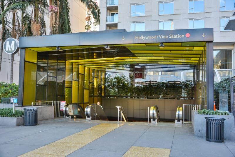对好莱坞/藤地铁的入口在洛杉矶,加州 免版税库存照片