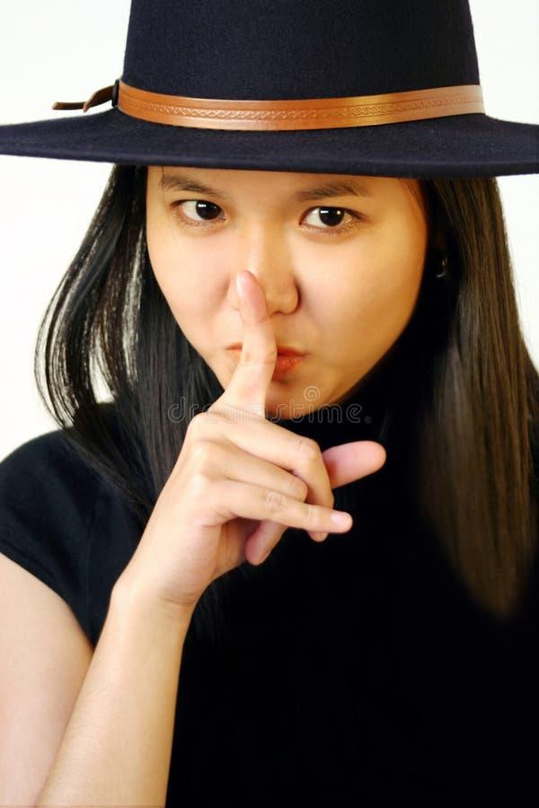 对妇女的手指嘴唇 库存照片