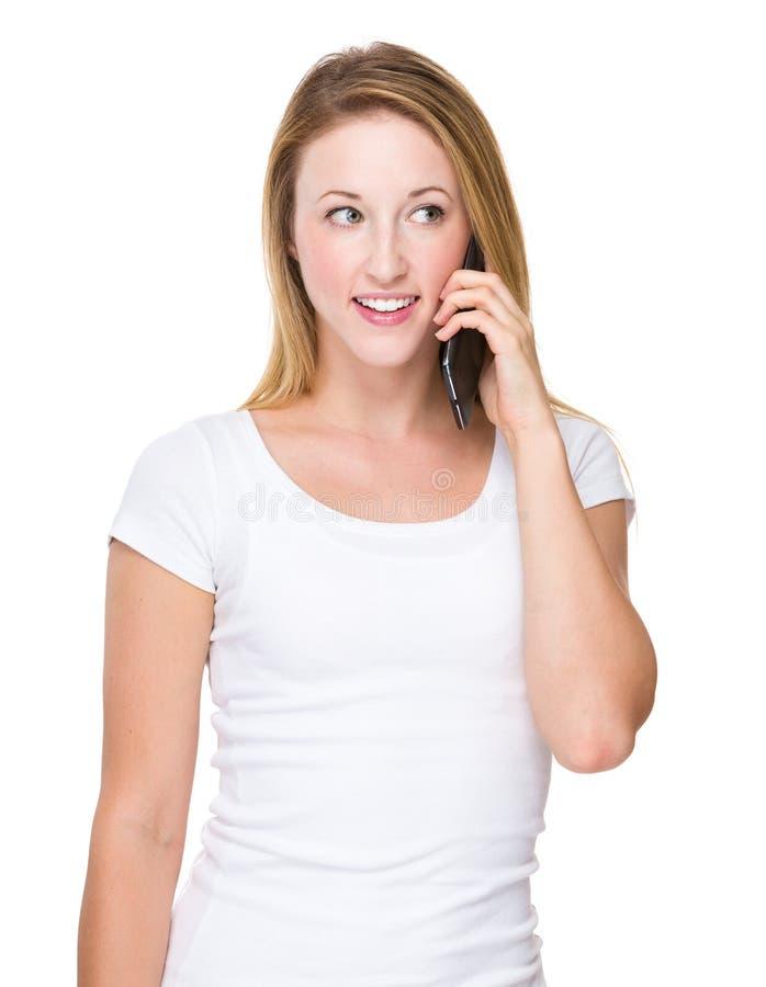对妇女的电话谈话 免版税库存图片