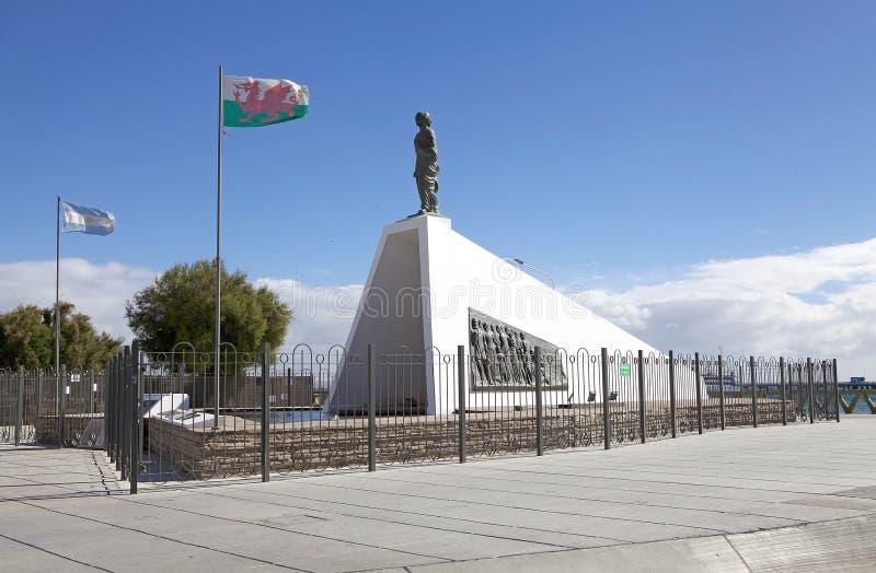 对威尔士移居者马德林港的,一个城市的纪念碑在丘布特省,巴塔哥尼亚,阿根廷 免版税库存图片