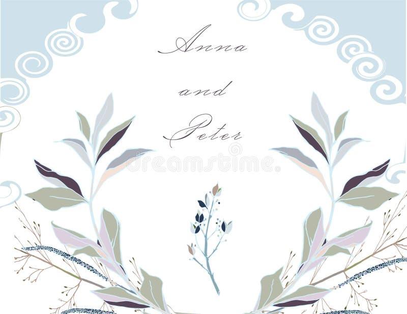 对婚礼的邀请,党,与一个花卉设计的贺卡在柔和的颜色 银色,蓝色,粉色 向量例证