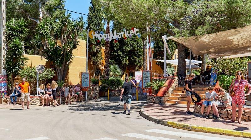 对嬉皮的市场的入口 伊维萨岛海岛 西班牙 免版税库存图片