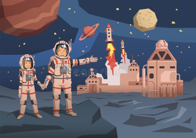 对宇航员观察与空间殖民地的外籍人行星和发射在背景的starships 空间旅行 向量例证