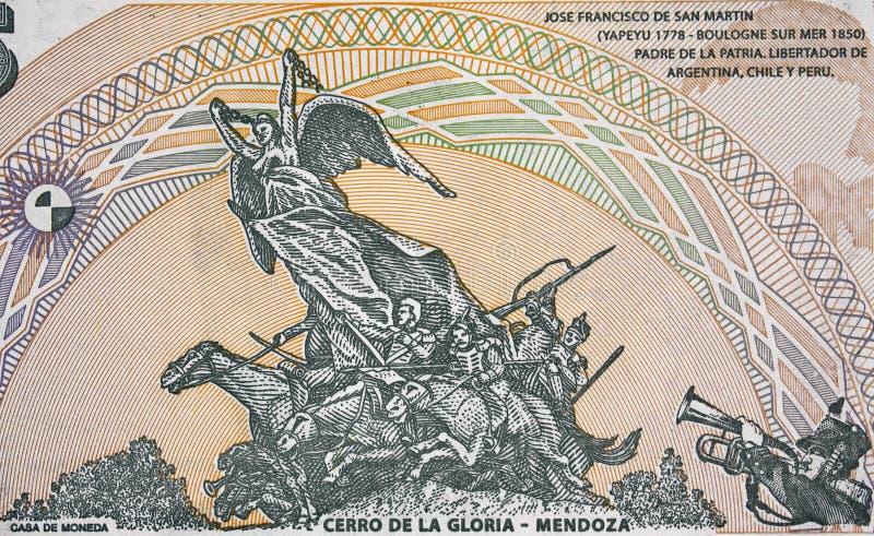 对安地斯,塞罗de在Argenti的la格洛里亚的军队的纪念碑 库存图片
