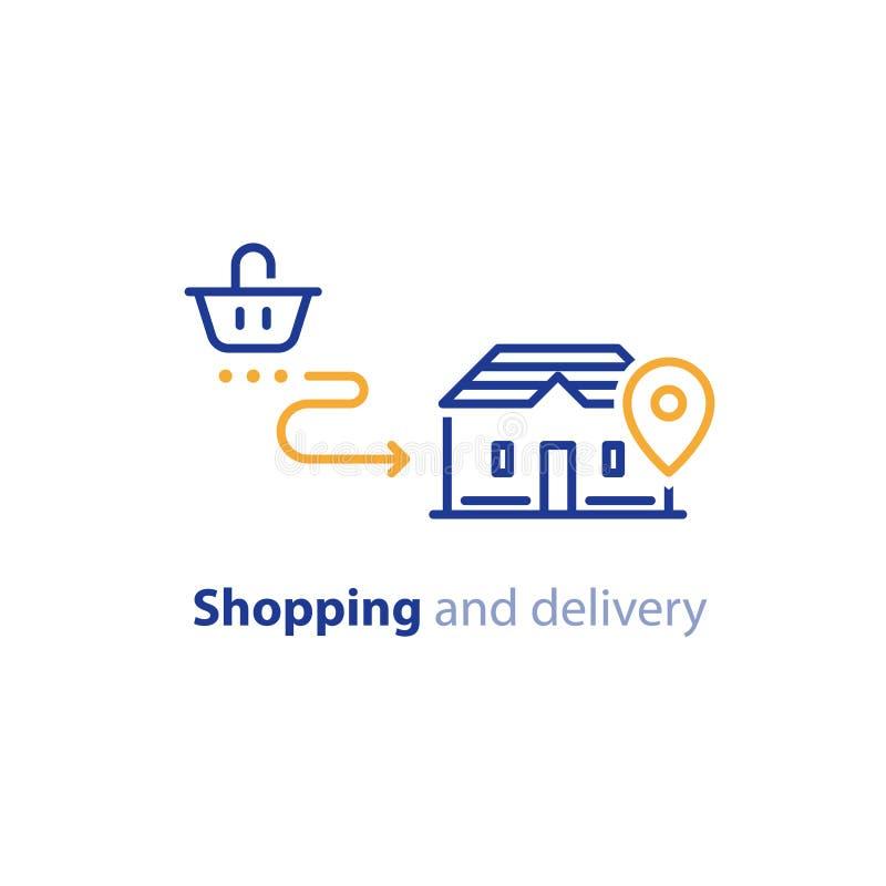 对家,命令发货的购物交付,接受小包 库存例证
