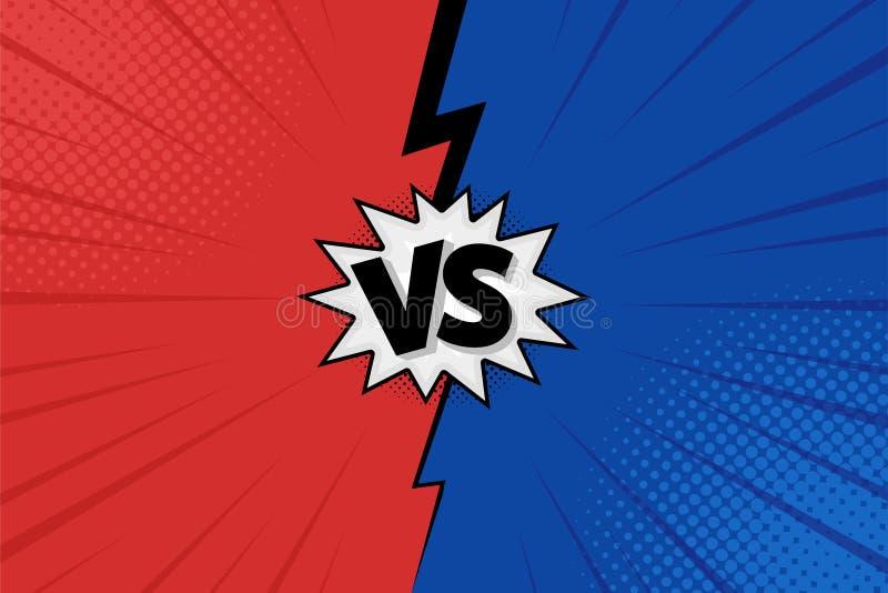 对对信件在平的漫画样式设计的战斗背景与中间影调,闪电 向量 向量例证
