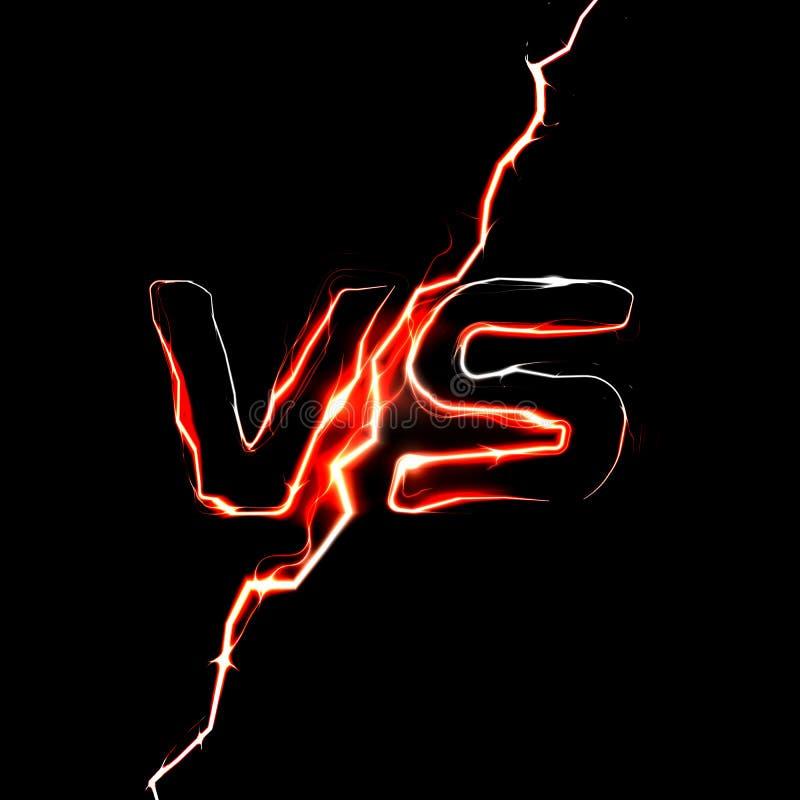 对对商标 争斗标题模板 闪耀的闪电设计 在黑背景的被隔绝的传染媒介例证 向量例证