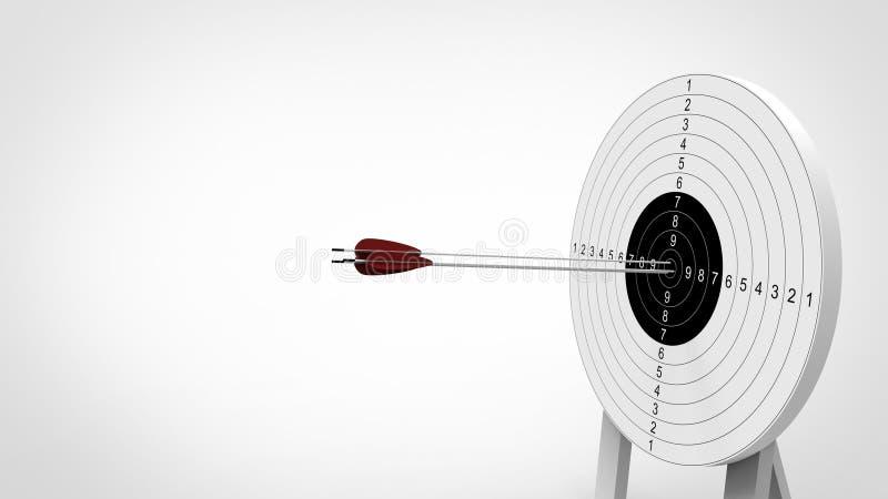 对射箭目标的箭头焦点 3d例证 免版税图库摄影