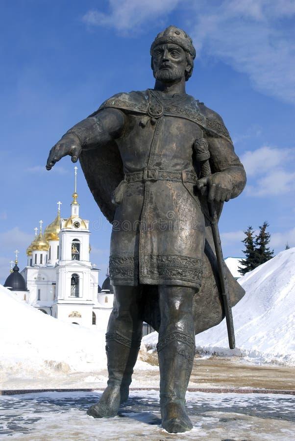 对尤里多尔戈鲁基和假定大教堂的纪念碑 克里姆林宫在Dmitrov,古镇在莫斯科地区 免版税库存照片
