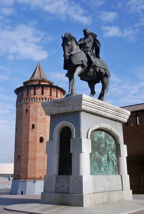 对尤里多尔戈鲁基的纪念碑 kolomna克里姆林宫俄国 免版税库存图片