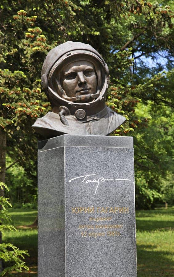 对尤里・加加林的纪念碑在瓦尔纳 建造者 图库摄影
