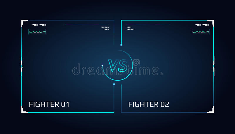 对屏幕设计 公告两架战斗机 蓝色未来派氖对信件 皇族释放例证