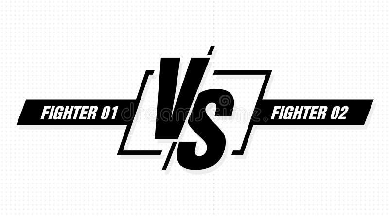 对屏幕 对争斗标题,在队之间的冲突决斗 交锋战斗竞争 向量背景 库存例证