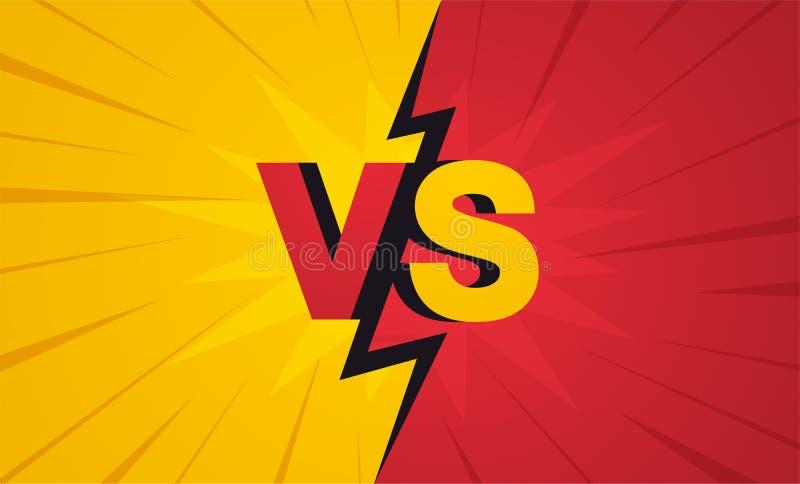 对屏幕 战斗背景互相反对,黄色对红色 向量例证