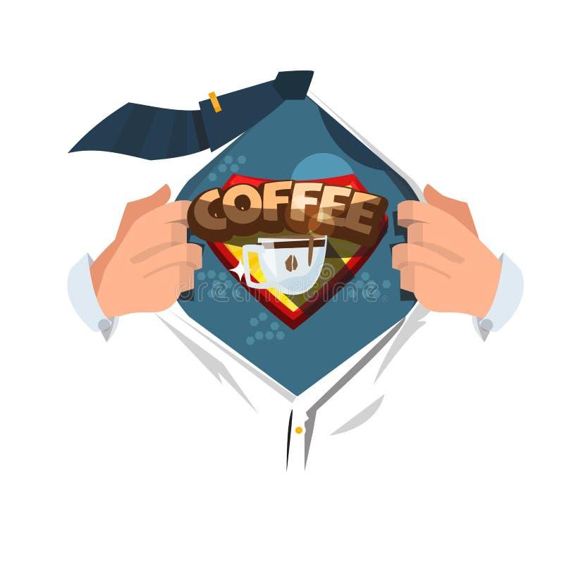 对展示咖啡logotyle的人开放衬衣在可笑的样式 力量  皇族释放例证