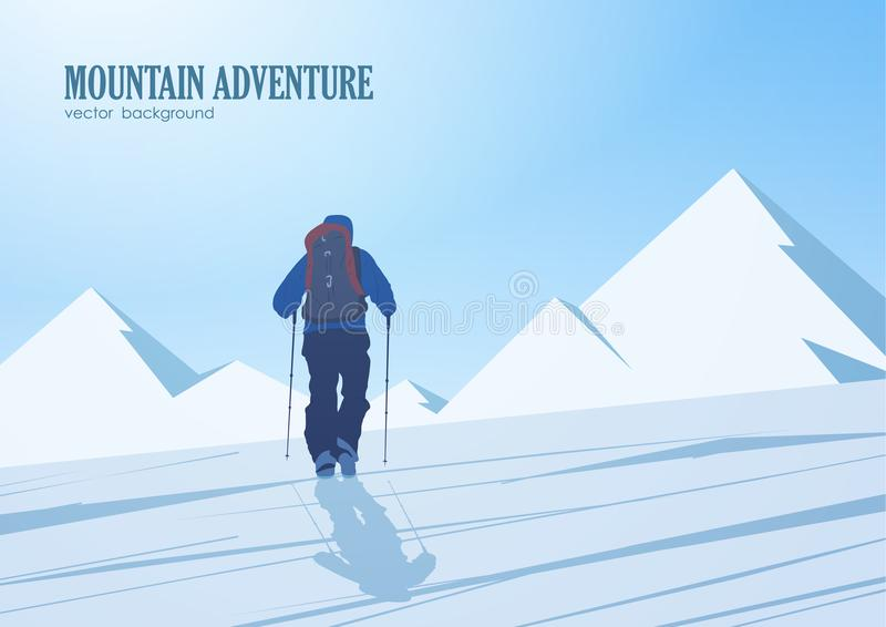 对山的峰顶的攀登 有背包的登山人 皇族释放例证