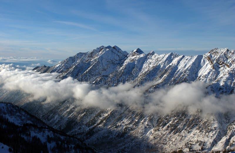 对山的视图从雪鸟滑雪胜地在犹他,美国 免版税库存照片