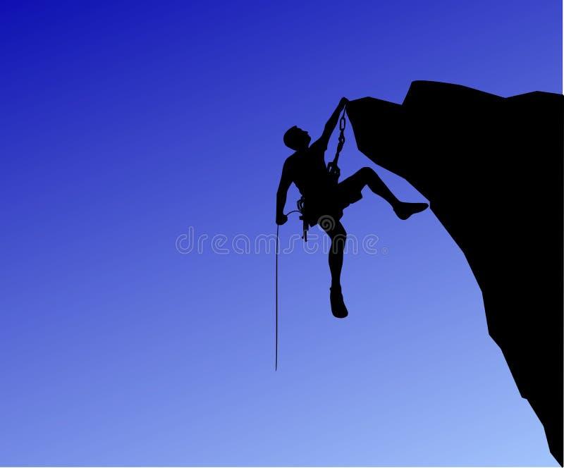 对岩石的登山家攀登 库存例证