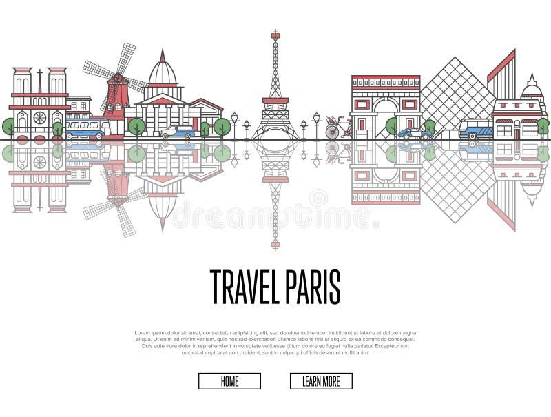 对巴黎海报的旅行游览在线性样式 皇族释放例证