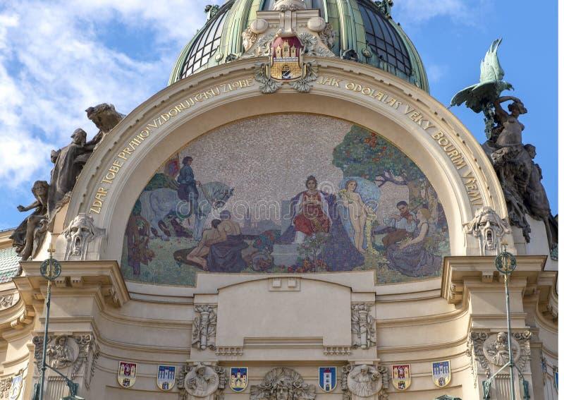 对布拉格马赛克的尊敬卡尔Spillar,市政议院,Namesti的Republiky,布拉格,捷克 库存图片